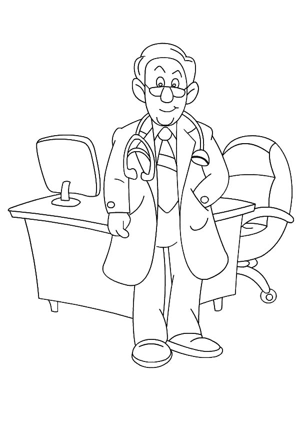 600x849 Doctor In His Office On Jobs Coloring Pages Batch Coloring