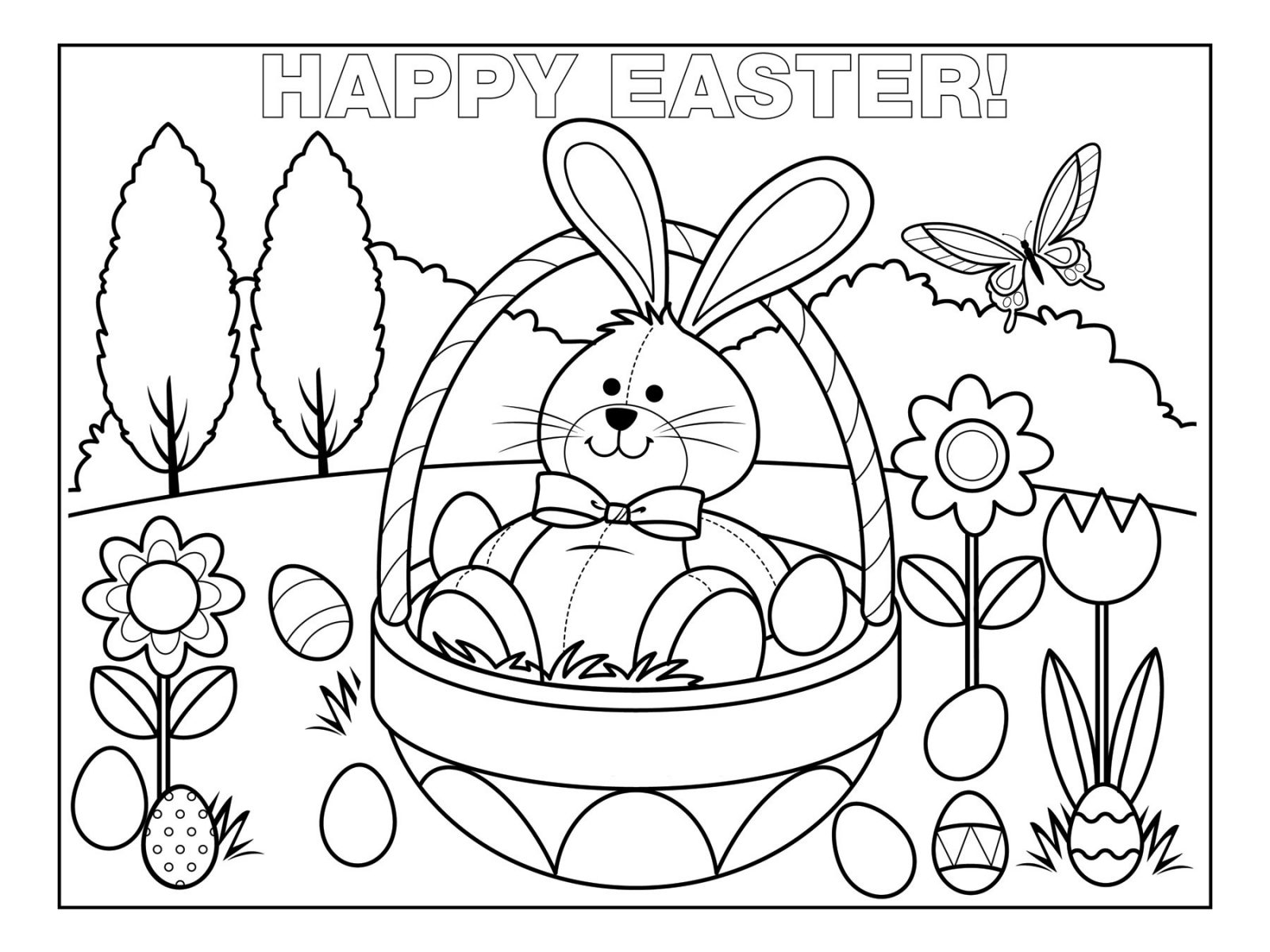 1600x1200 Dorable Easter Egg Coloring Pages Free For Kids Component