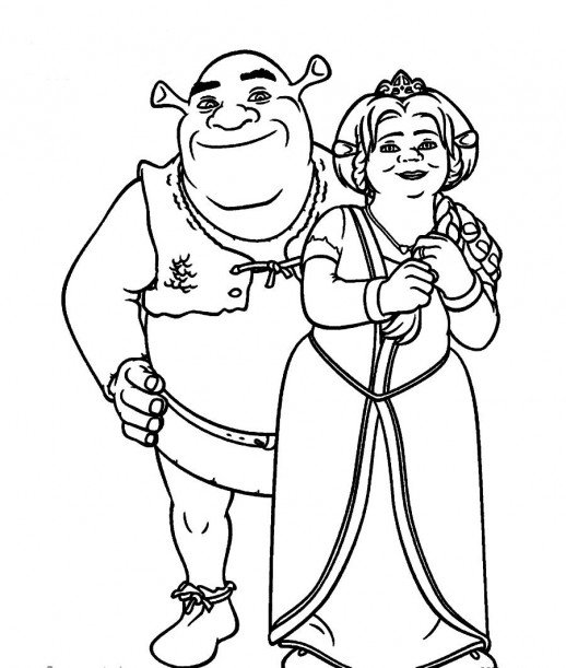 518x611 Shrek And Fiona The Happiest Ogre Couple Coloring Pages
