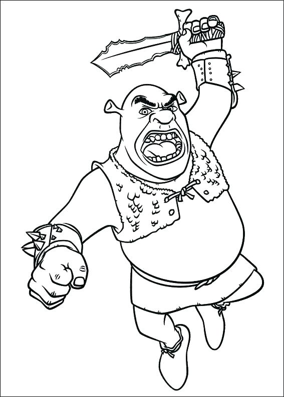 567x794 Shrek Coloring Page The Green Ogre Is An Adorable Character