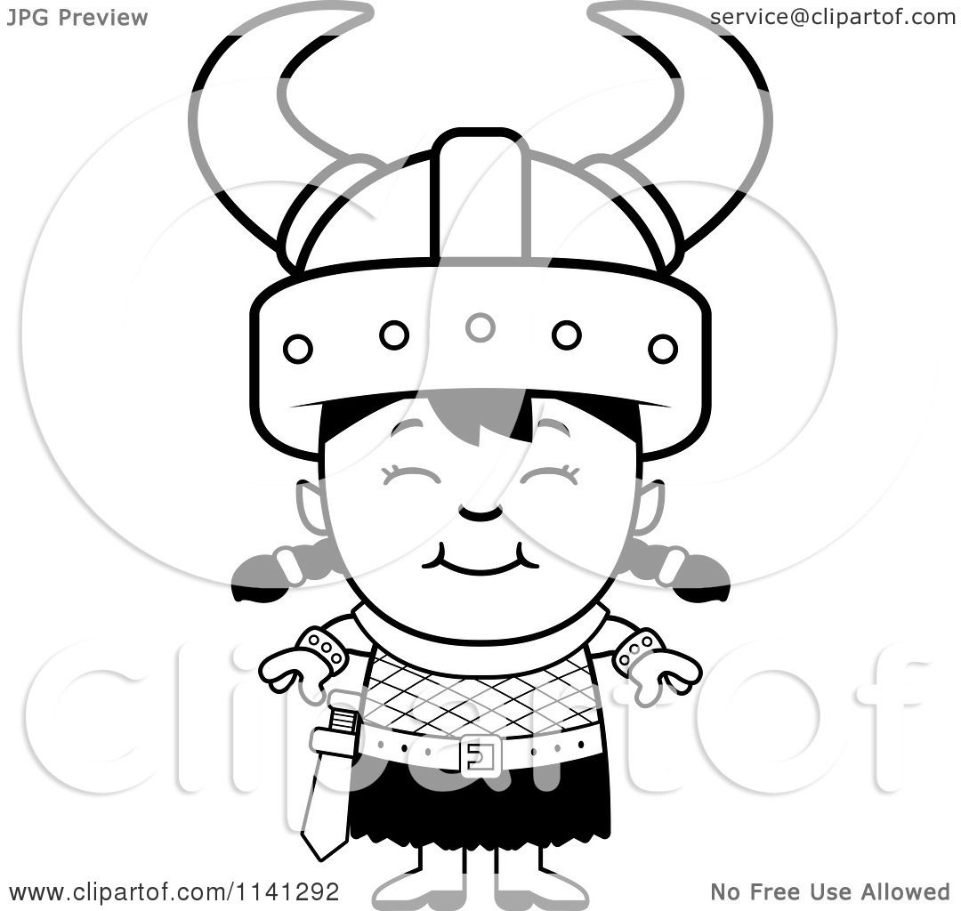 1080x1024 Cartoon Clipart Of A Black And White Happy Ogre Viking Girl