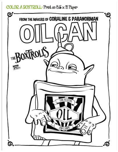 406x525 Free Printable Boxtrolls Oil Can Coloring Page Printable
