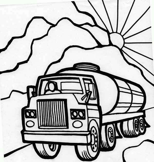 600x630 Oil Carrier Semi Truck Coloring Page Colour Pages