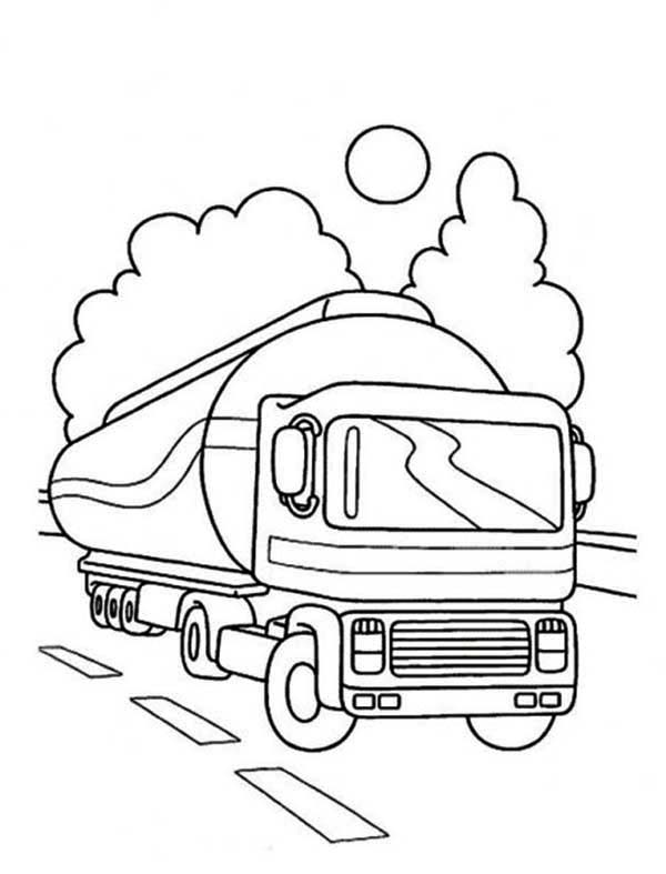 600x787 Oil Container Semi Truck On The Road Coloring Page