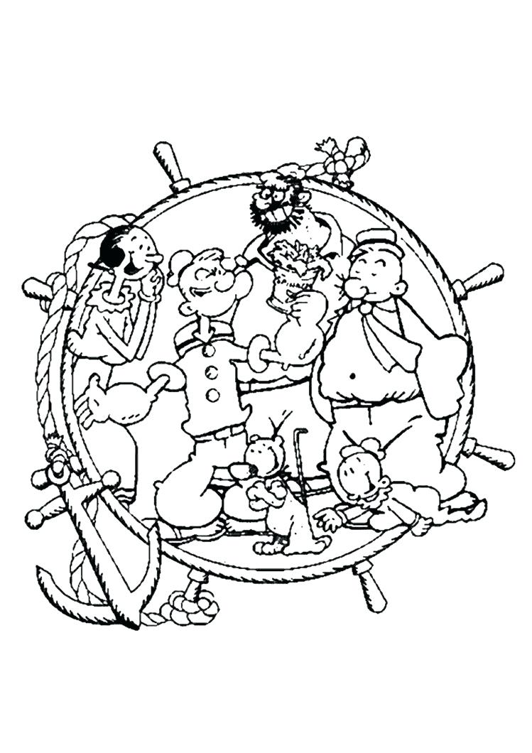 749x1060 Coloring Page Popeye Coloring Pages The Sailor Plays Guitar