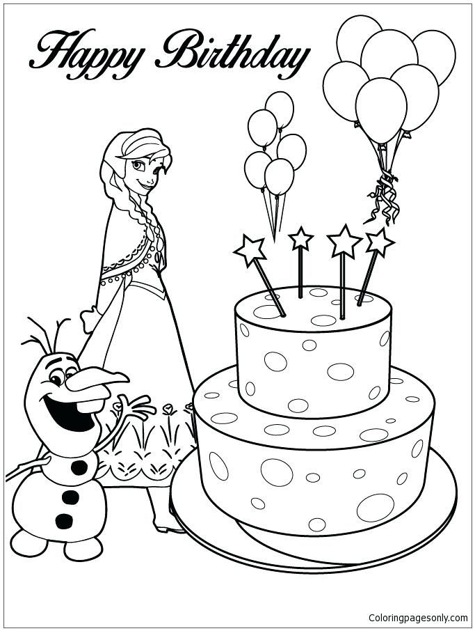 683x906 And Happy Birthday Cake Also And Happy Birthday Cake Coloring Page