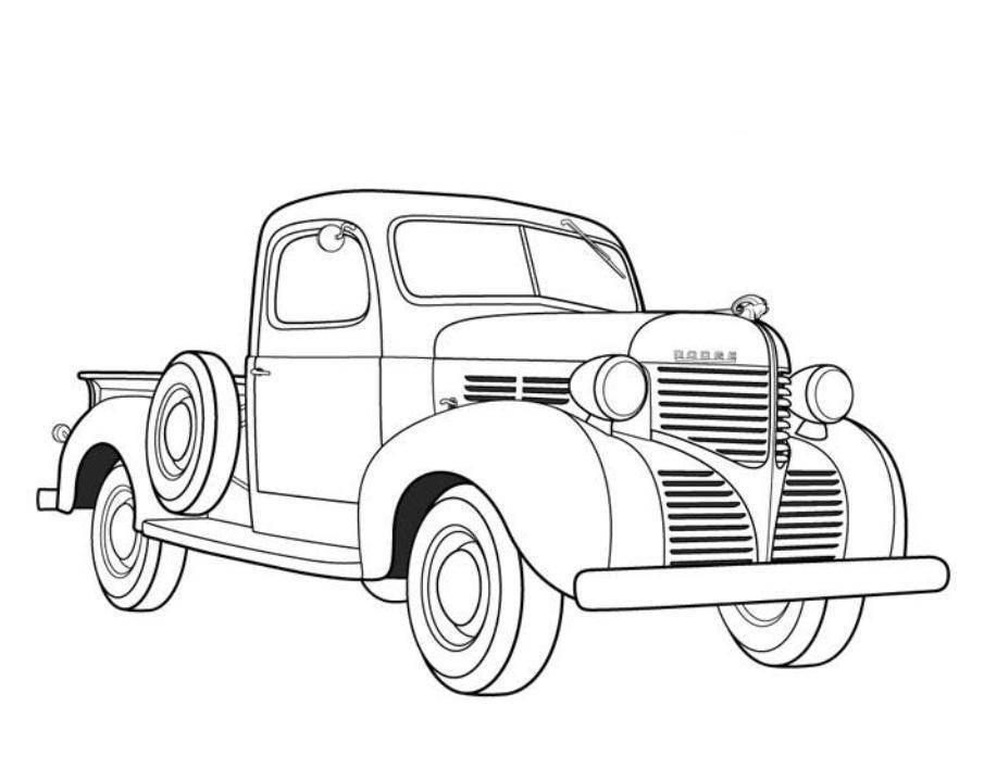 905x719 Dodge Pickup Old Car Coloring Pages Free Online Cars