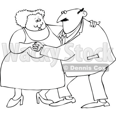 400x400 Of An Outlined Chubby Old Couple Dancing