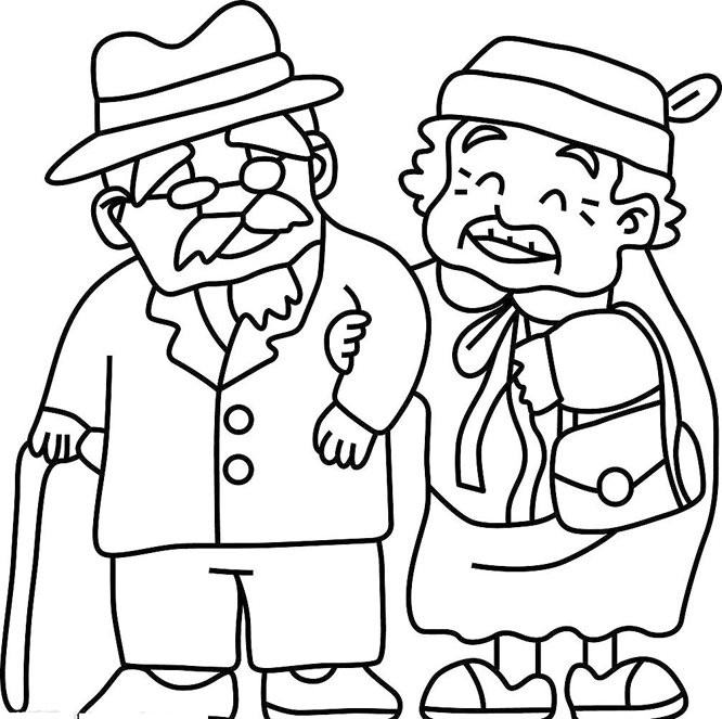 666x663 Old People Coloring Pages