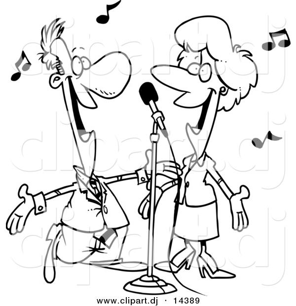 600x620 Vector Clipart Of A Cartoon Couple Singing