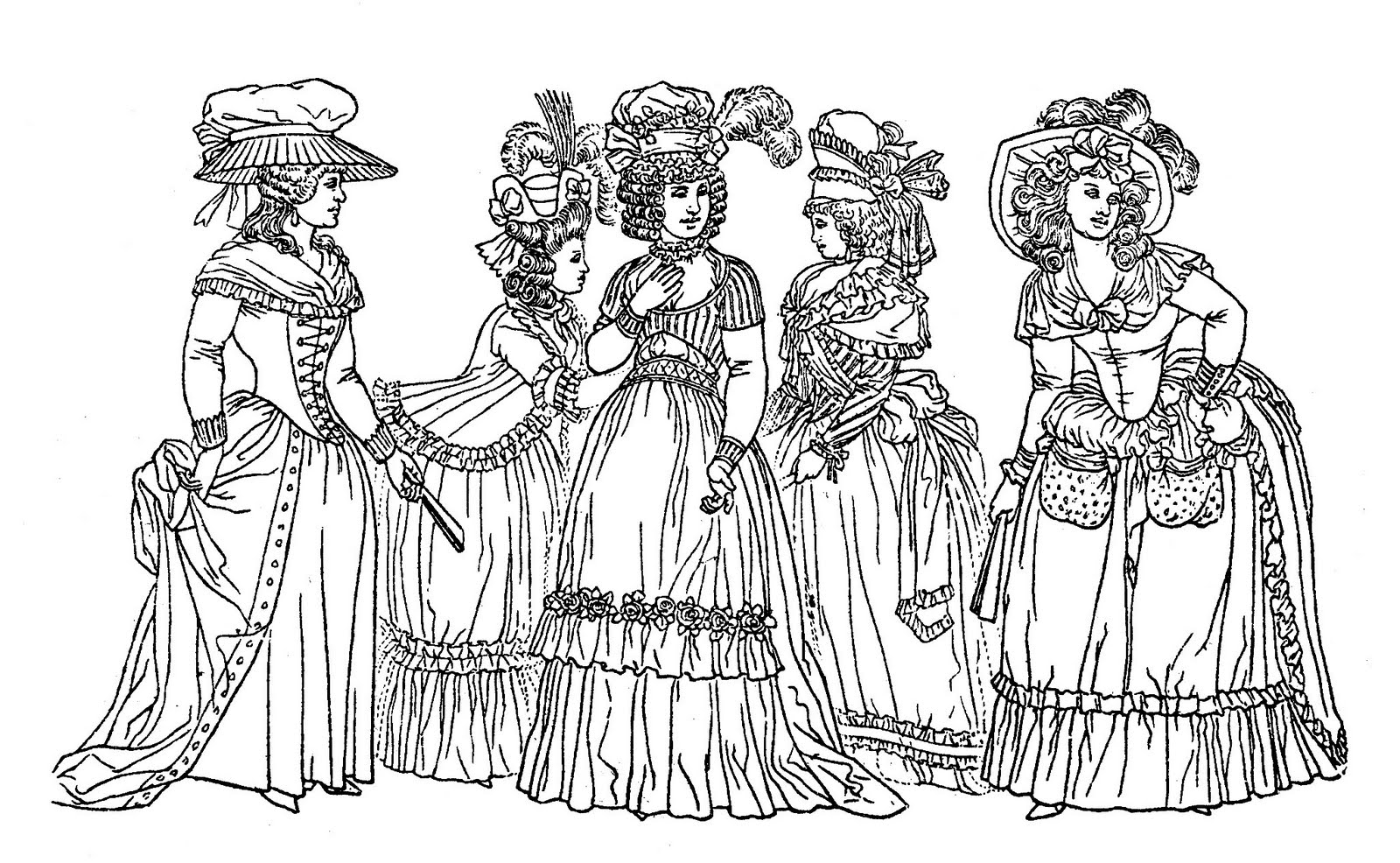 1600x986 Historical Fashion Coloring Pages Download And Print For Free