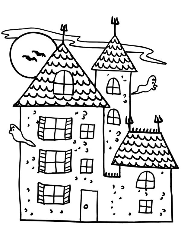 600x776 Old Haunted House Coloring Pages