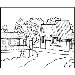 300x300 Old House Coloring Page