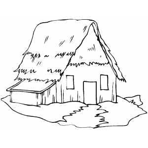300x300 Old Straw Cottage Coloring Page