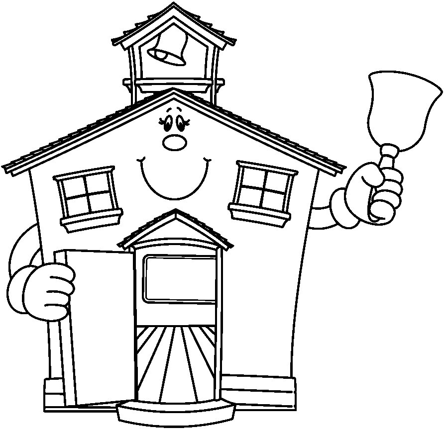 892x863 School House Coloring Pages