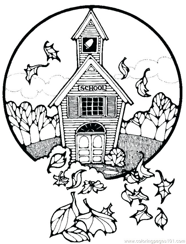650x852 Amazing School House Coloring Page House Coloring Pages School