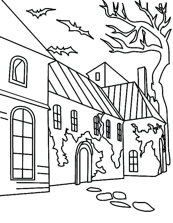600x775 Halloween Haunted House Coloring Pages Professional