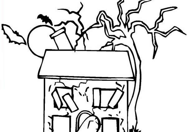 600x425 This Old House Coloring Page Haunted House Coloring Page Clipart