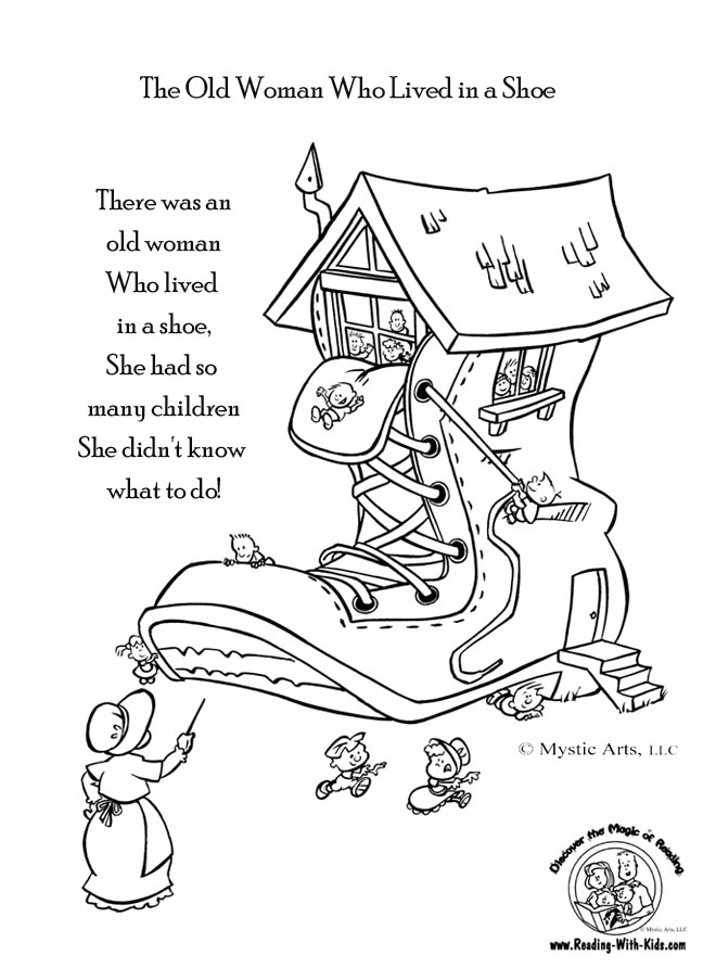 648x892 Old Woman Who Lived In A Shoe Coloring Page