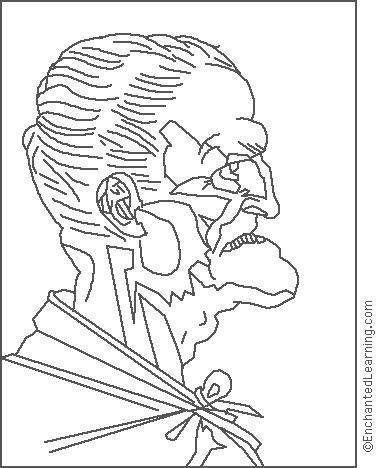 380x468 Leonardo Da Vinci Old Man Coloring Page