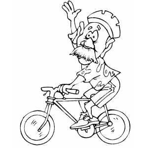 300x300 Old Man Cycler Waving Coloring Sheet