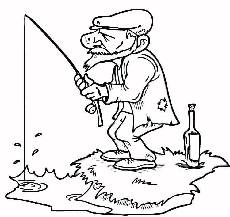 750x708 Old Man Fisher Coloring Pages