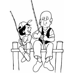 300x300 Old Man Fishing With Boy Coloring Sheet