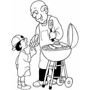 300x300 Old Man Giving Hotdog To Boy Coloring Sheet