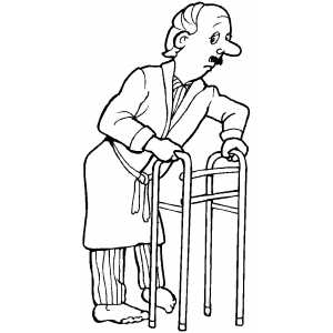 300x300 Old Man With Walker Coloring Page