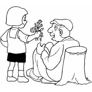 300x300 Girl Giving Flowers To Old Man Coloring Sheet