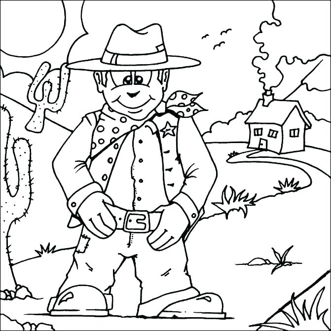 671x671 Western Coloring Pages