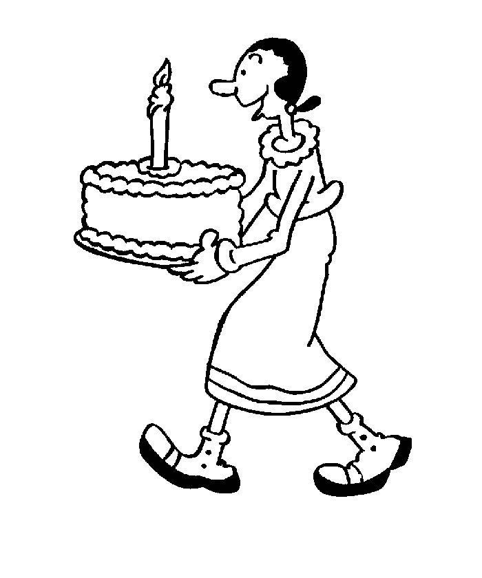 700x840 Olive Having Birthday Cake Coloring Page Boys Pages