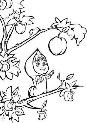 290x406 Masha And Bear Apple Coloring Pages For Kids Printable Free