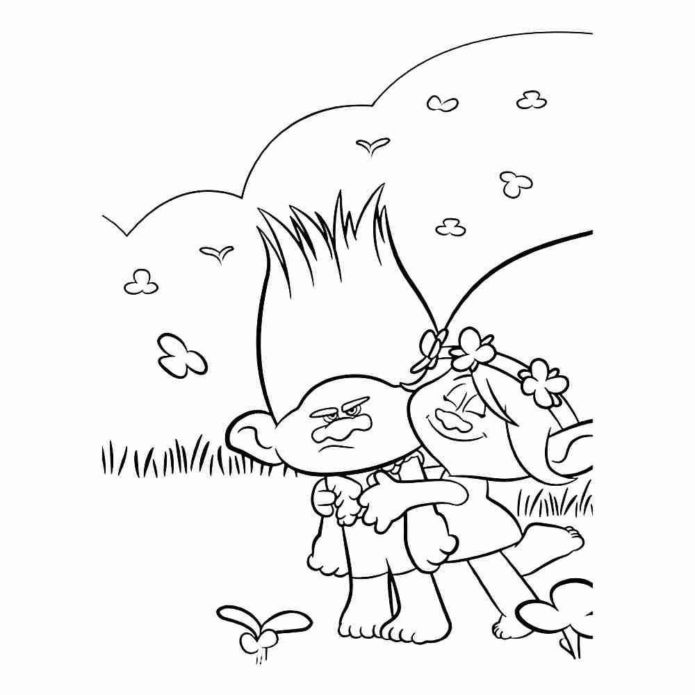 1000x1000 Trolls Coloring Pages Free Printable With Branch Troll Page