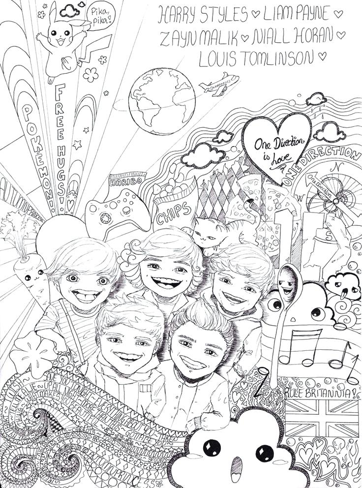736x992 Harry Styles Coloring Pages One Direction Cartoon Drawing At Free