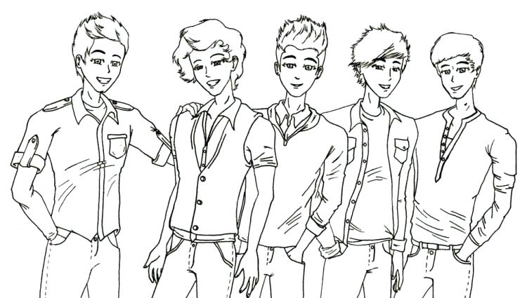 750x425 One Direction Coloring Pages Cartoon Creative For Girls