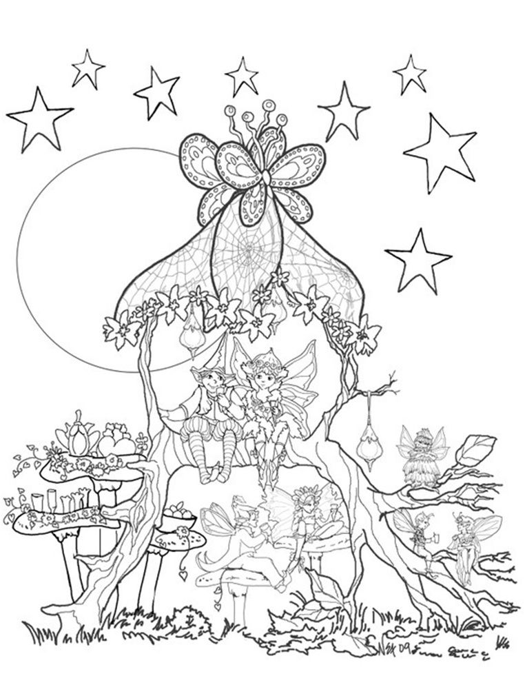 762x1010 Fairies In A Tree House Coloring Page Coloring Pages