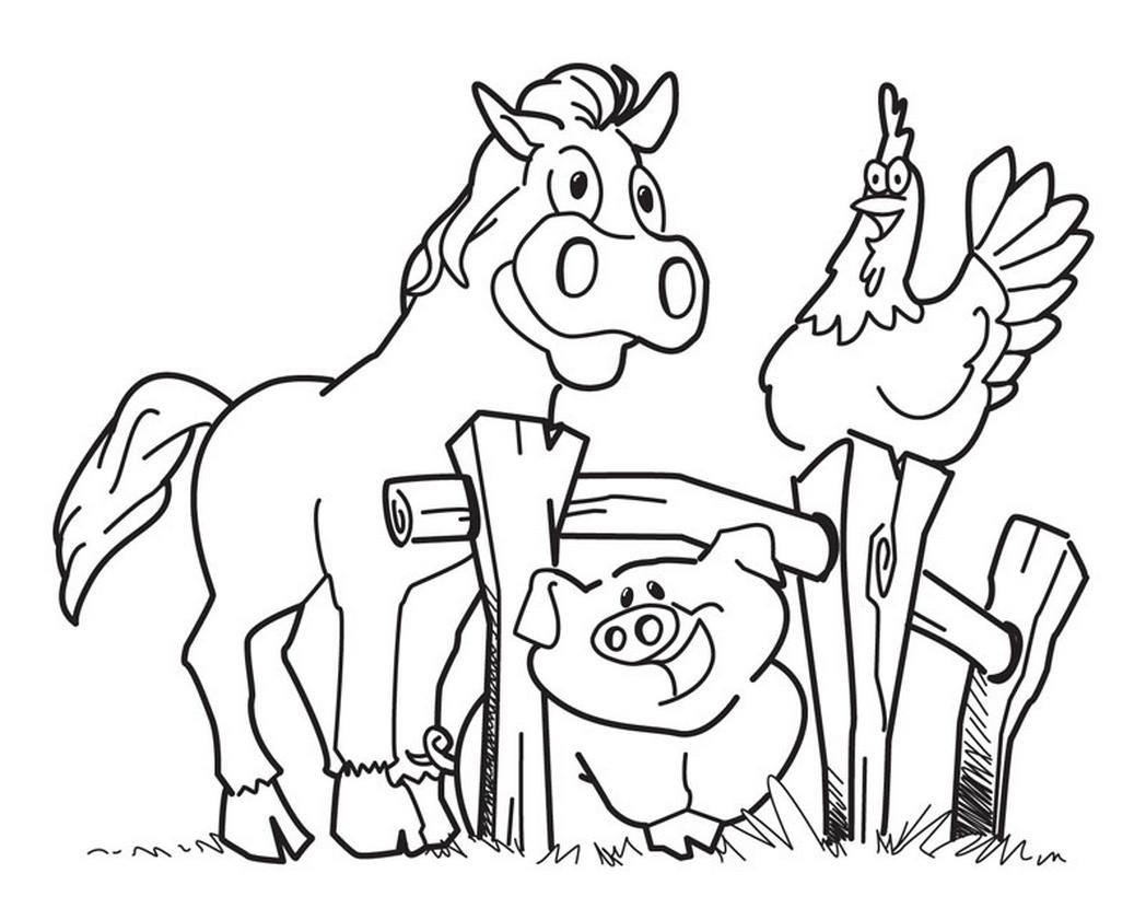 1048x841 Happy Pig On Farm Coloring Page Diy Crafts