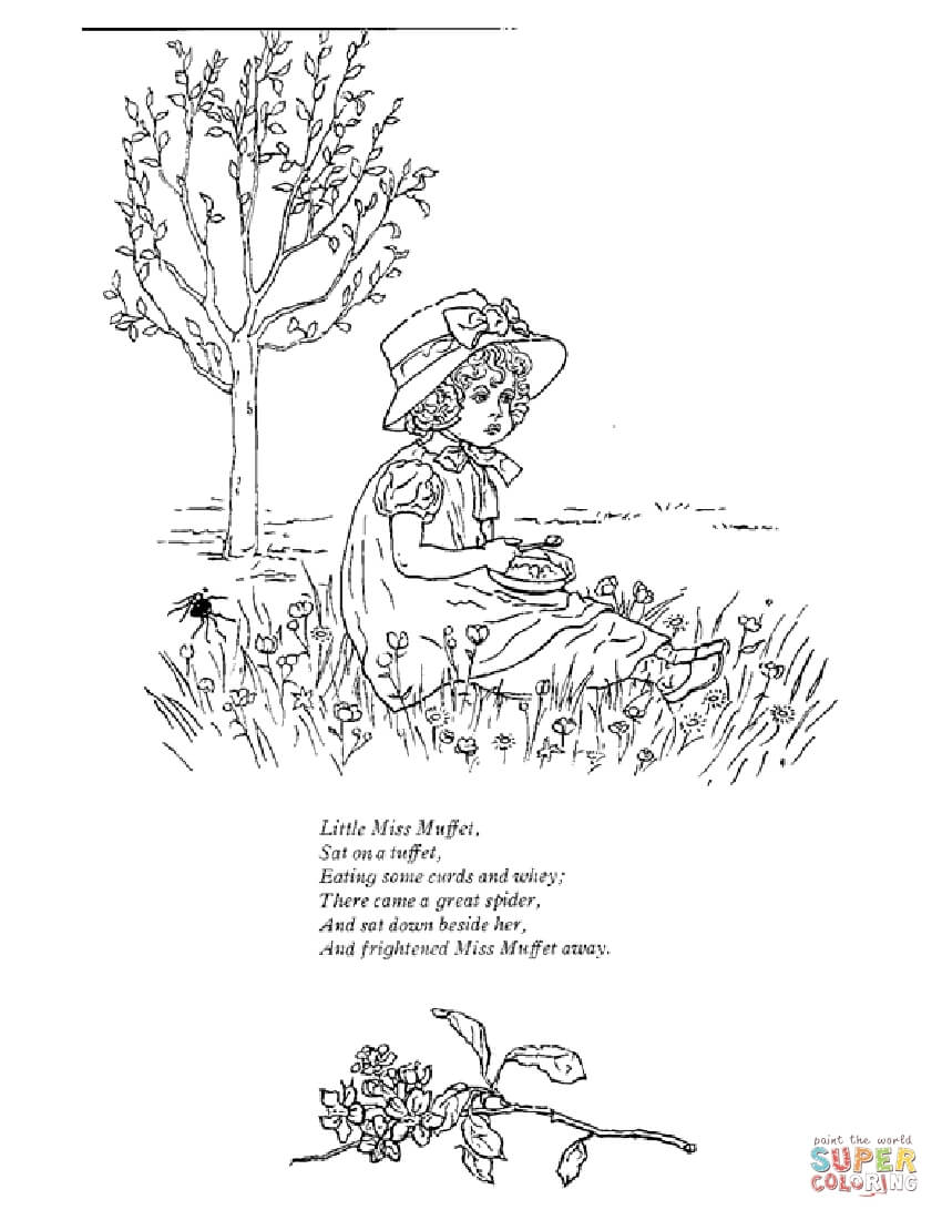 850x1100 Simplistic Little Miss Muffet Coloring Page Free Printable Pages