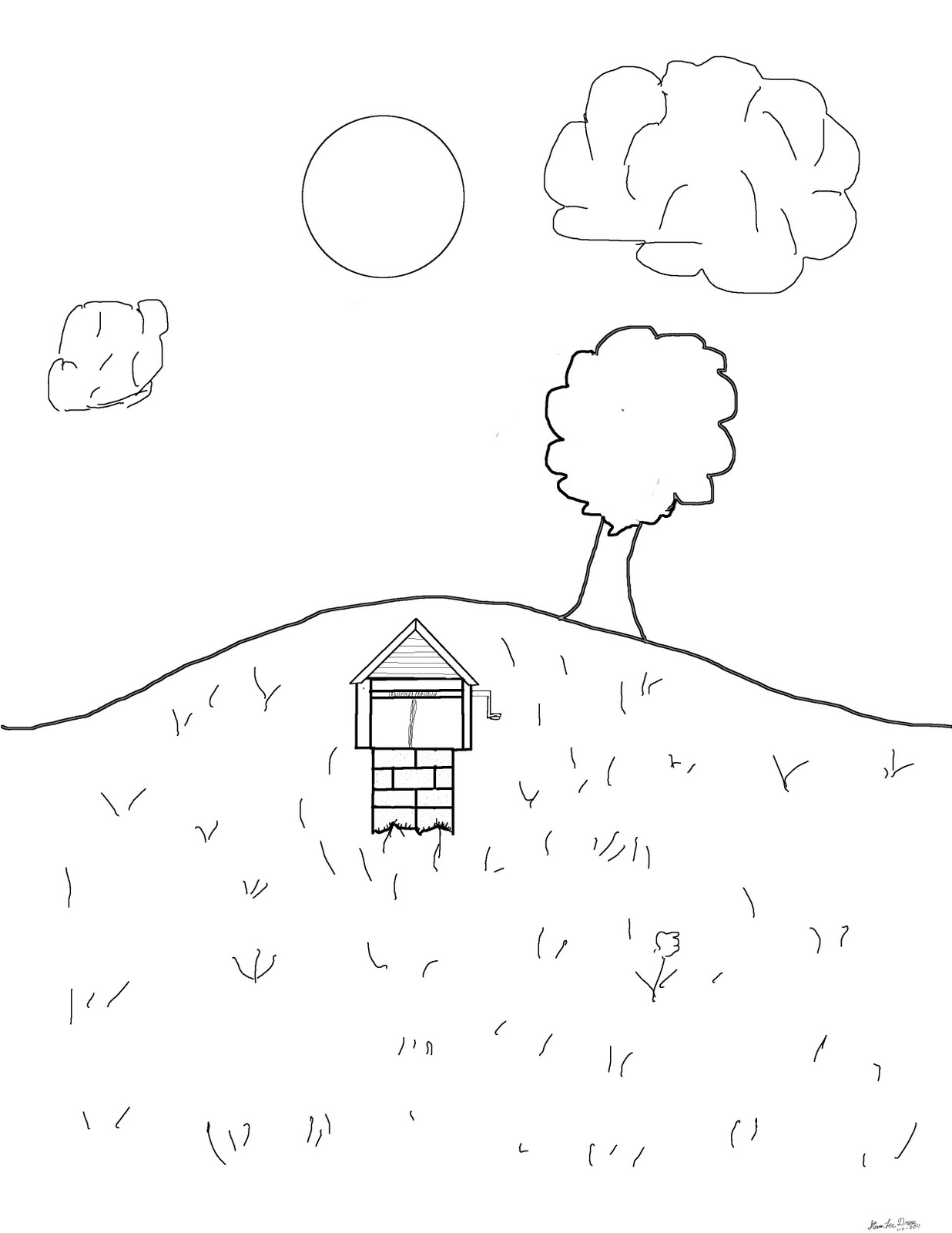 1236x1600 Teaching Myself To Draw A Hill For Cierra, Coloring Page