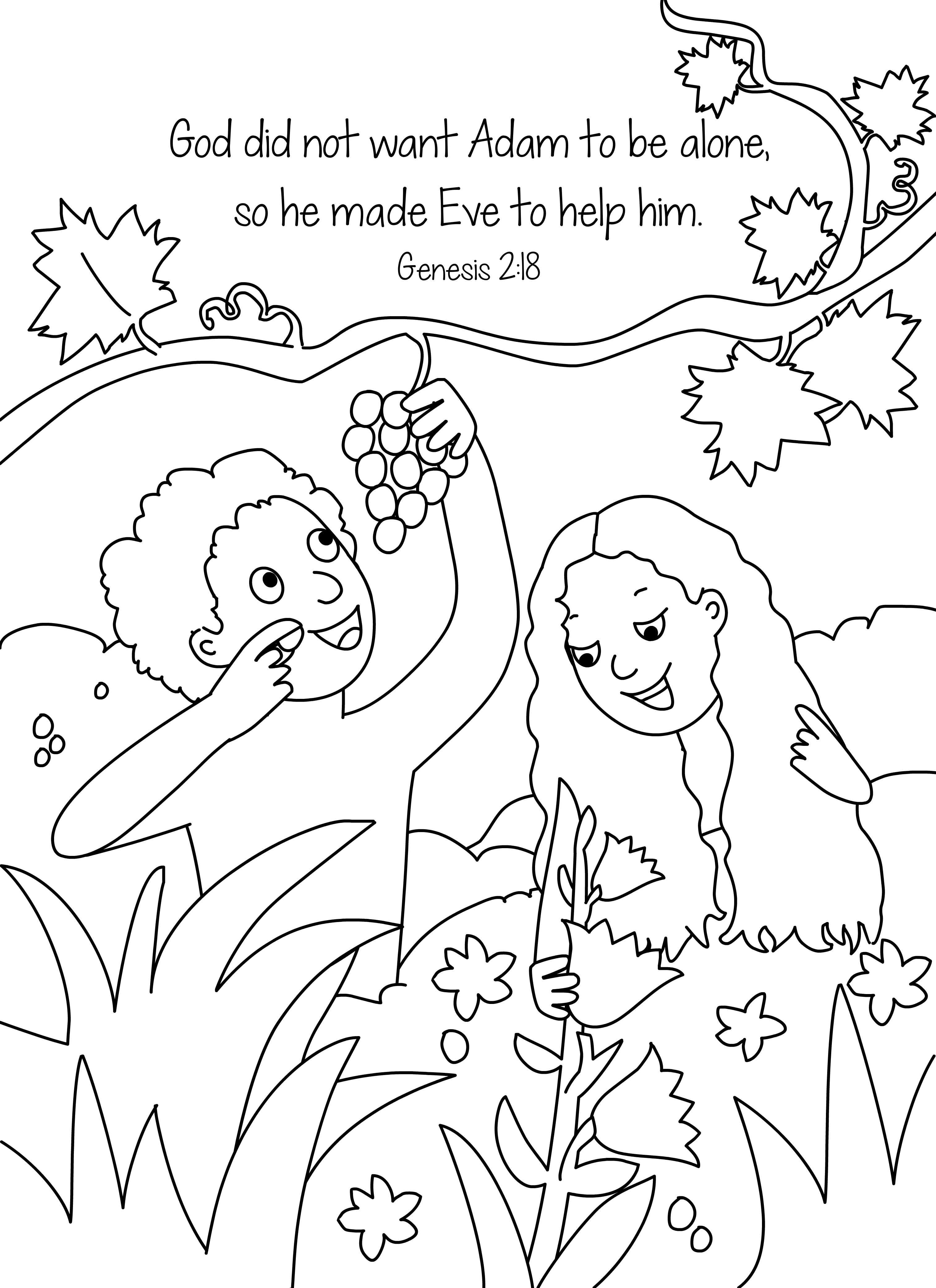 3028x4167 Bible Key Point Coloring Page Adam Eve Online Preschool