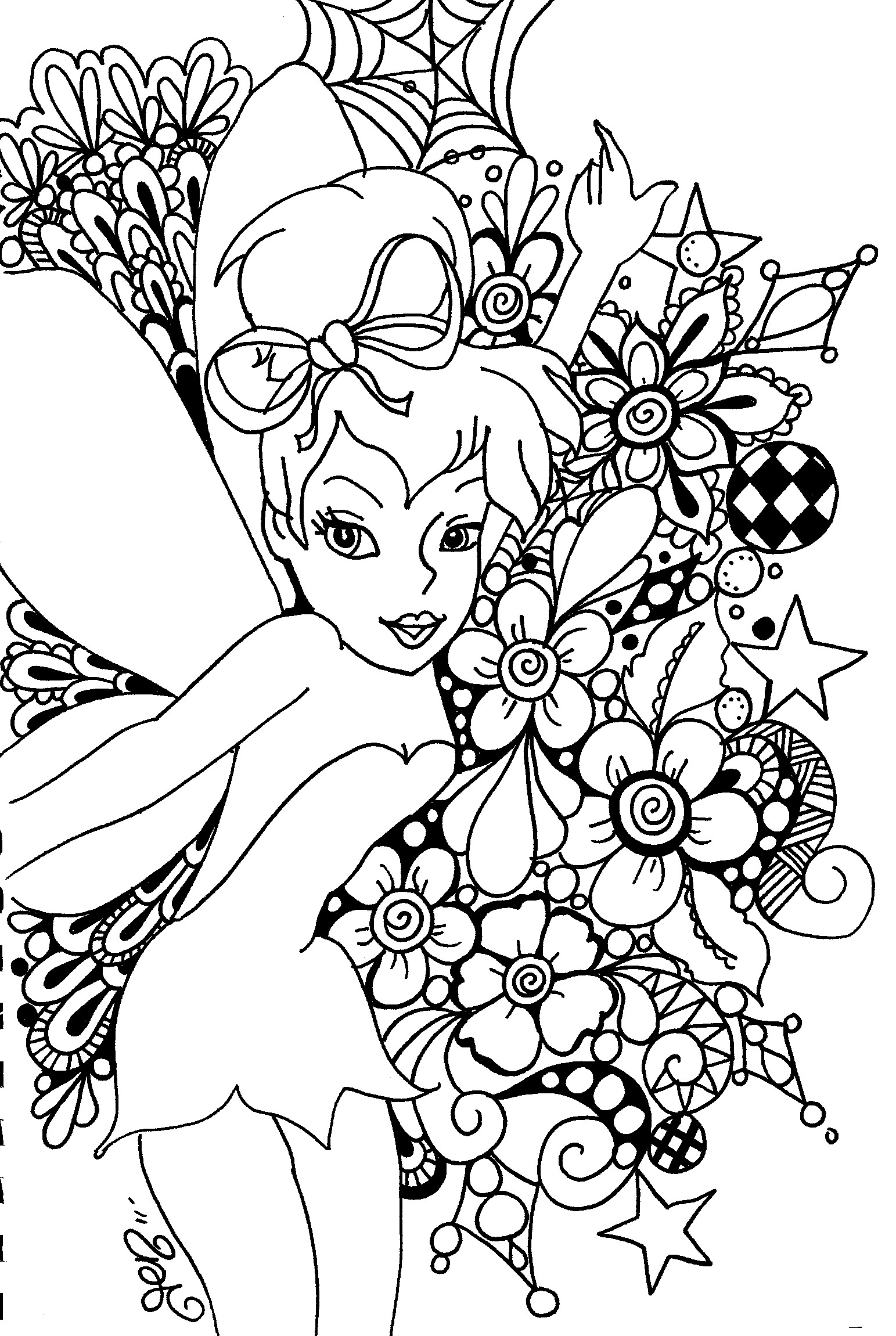 1543x2301 Coloring Pages For Adults Online Free Printable Tinkerbell Kids
