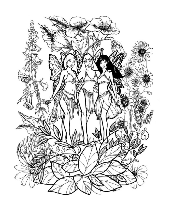 700x825 Fairy Coloring Pages For Adults