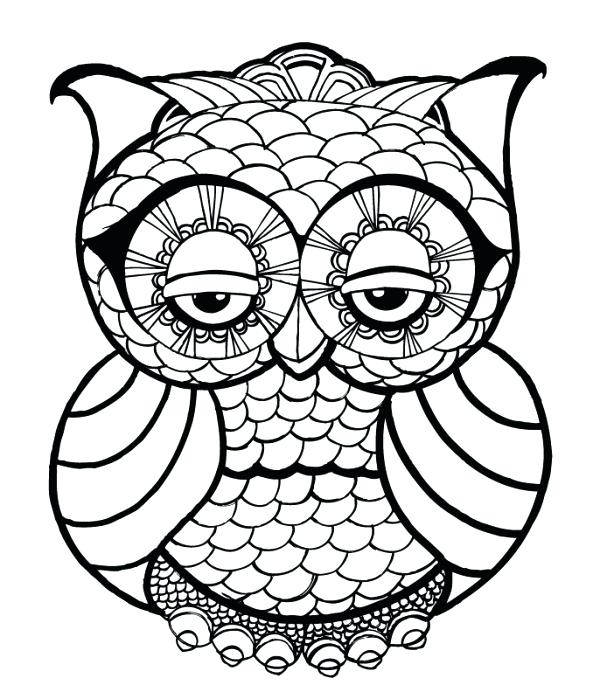 600x699 Free Adult Coloring Pages With Free Owl Coloring Page