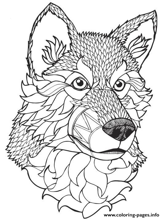 534x712 Print High Quality Wolf Mandala Adult Coloring Pages