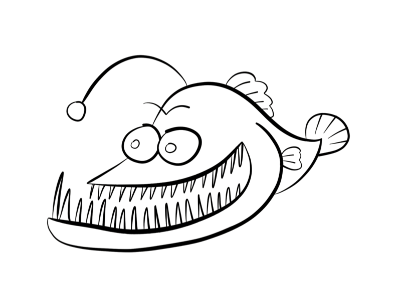 792x612 Angler Fish Coloring Page