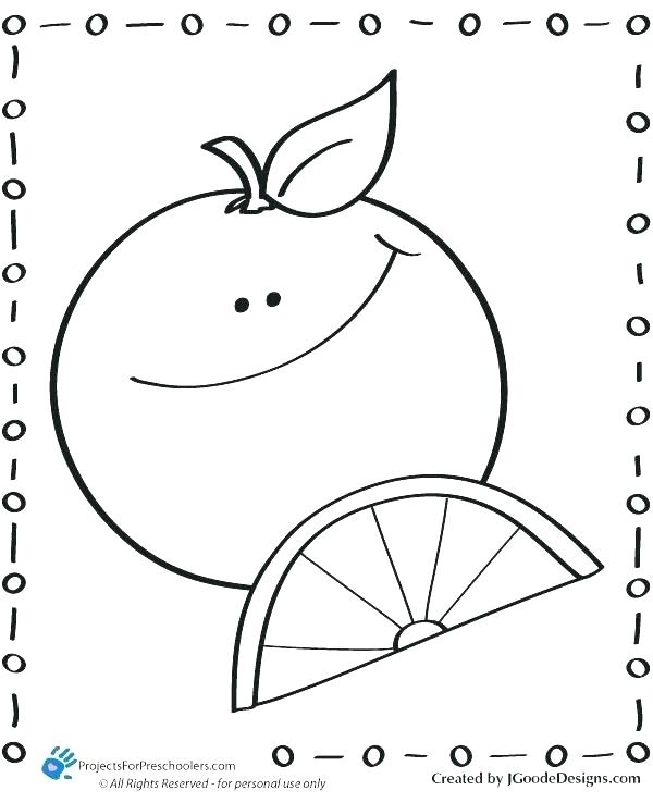 600x738 Orange Coloring Pictures Orange With Simple Lines Orange Juice
