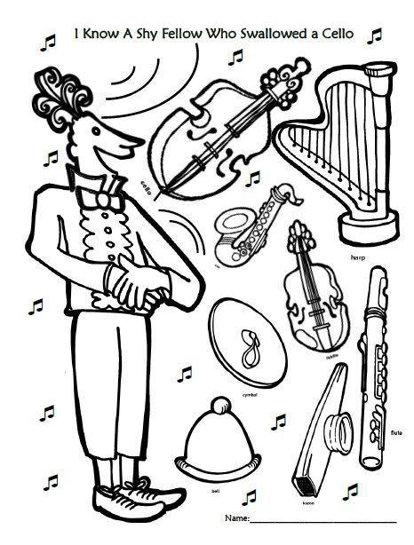 466x614 I Know A Shy Fellow Who Swallowed A Cello Coloring Page