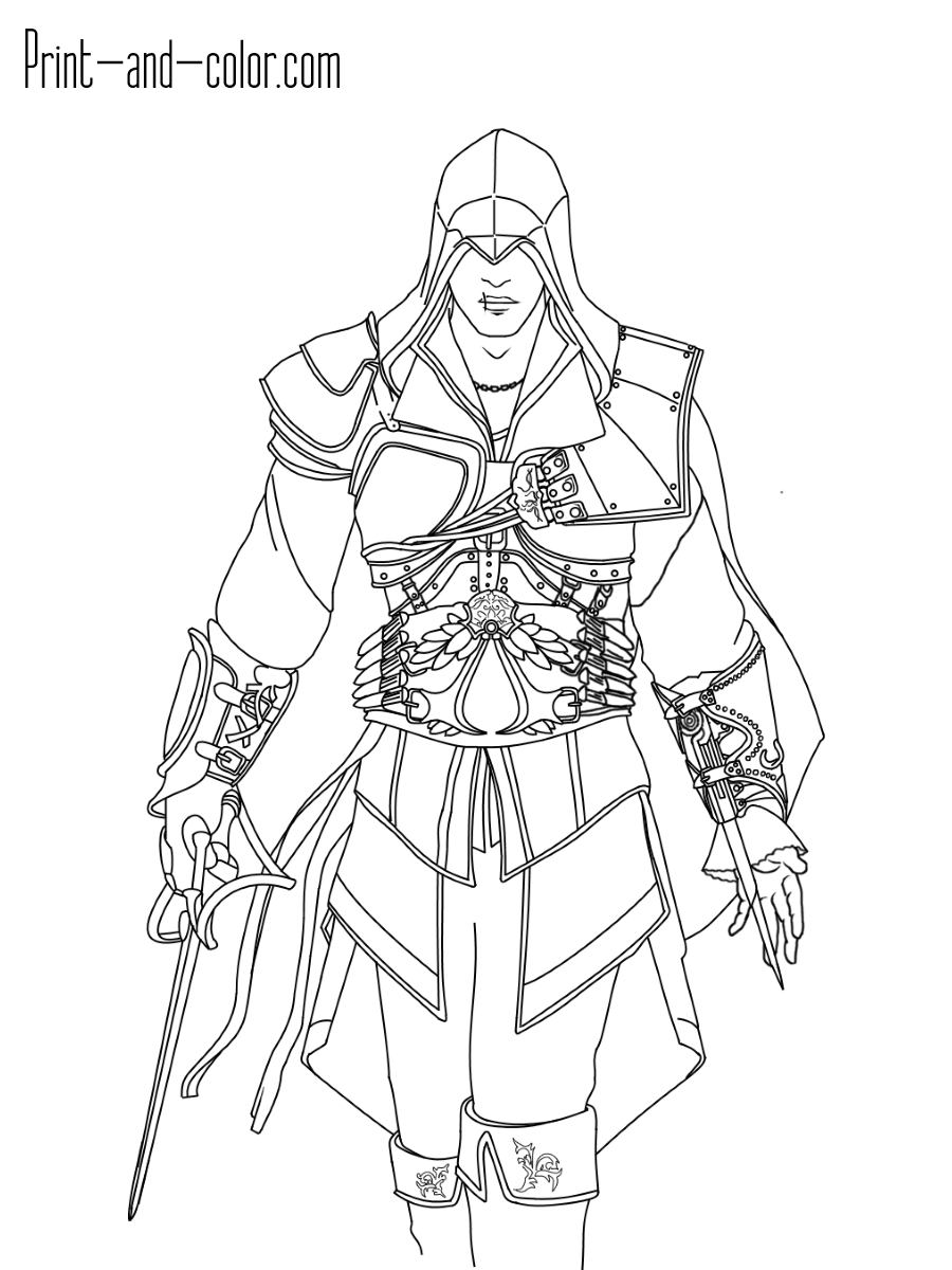 900x1200 Assassin's Creed Coloring Pages Print