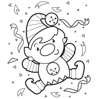 345x345 Happy Elf Coloring Page